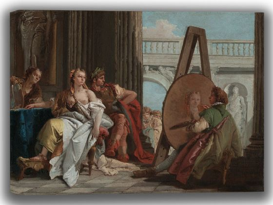 Tiepolo, Giovanni Battista: Alexander the Great and Campaspe in the Studio of Apelles. Fine Art Canvas. Sizes: A4/A3/A2/A1 (004023)